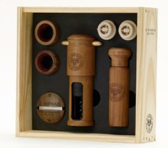 Costa Brava St. Germain Professional Set, Wood Line by Costa Brava. $220.00. Attractive packaging. Simple to use. Made from natural wood. The perfect gift for your wine enthusiast. Handcrafted in Argentina. St. Germain's professional set utilizes the classic corkscrew and vacuum preserver as our centerpiece in this product group.   Products are handsomely displayed in wood boxes with a clear cover to neatly store and display your favorite wine accessories.