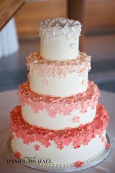 Ombre fondant flowers. A Spoon Fulla Sugar, Wedding Cakes, Cincinnati