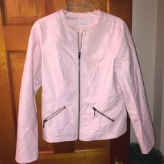 (NWOT) New York & Company Pink Leather Jacket (M) (NWOT) Gorgeous New York & Company light pink quilted leather jacket! (Size Medium) Never worn! Amazing quality! Perfect for a night out! Send me offers! New York & Company Jackets & Coats