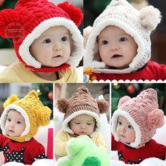 Kids Infants Winter Crochet Knit Balls Handmade Earflap Hat Beanie Beret #Affiliate