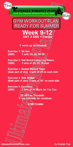 3 Month Women Workout Plan Week 9-12 Day 3: Abs and Cardio. FREE Printable workout template to have it always with you!!! #fitness #printableworkouts #gymworkouts #ultimateworkoutplans #kostaspap