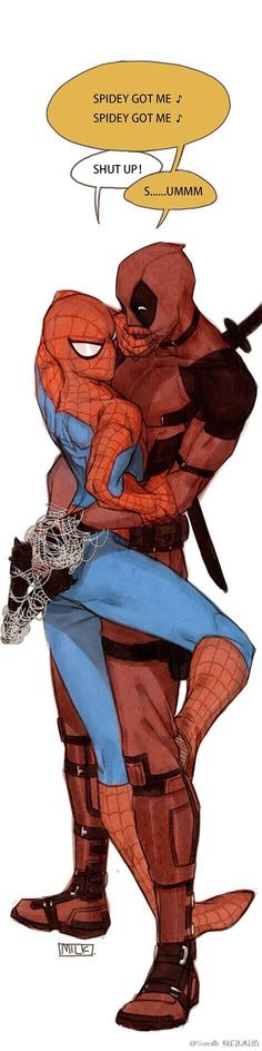 Ooo, spideypool, kudos to original artist, I really enjoy the out of line color, maybe markers but could be digital too