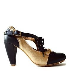 Take a look at this Black & Gold Strata Leather Pump by Ciel Bleu on #zulily today! $80 !!