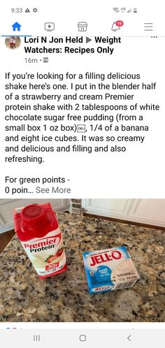 Weight Watchers Meal Plans, Weight Watchers Smart Points, Weight Watchers Desserts, Weightwatchers Recipes, Bariatric Recipes, Healthy Shakes, Healthy Drinks, Premier Protein Shakes, Sugar Free Pudding