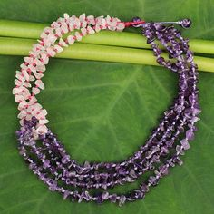 Amethyst and rose quartz beaded necklace, 'Rivers of Rose' - Handcrafted Amethyst and Rose Quartz Beaded Necklace