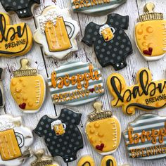 10 Perfect Themes for a Baby Shower – Voyage Afield Baby Q Shower, Man Shower, Baby Shower Themes, Shower Ideas, Baby Shower Biscuits, Baby Shower Cookies, Diaper Parties, Fancy Cookies, Summer Cookies