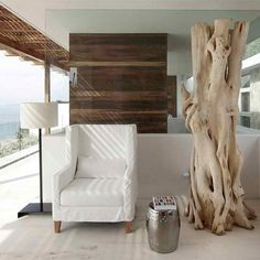 Architecture, Pretty Coastal House Design With Open Plan Sitting Area Design Including White Armchair And Tube Side Table Also White Standing Lamp Combined With Decorative Tree: Coastal House Design with Concrete and Natural Building Construction Coastal Homes, Coastal Living, Ocean View Villas, White Armchair, Interior Architecture, Interior Design, Interior Ideas, Chinese Garden, Natural Building