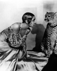 Josephine Baker had a pet cheetah named Chiquita that often slept in her bed and went on tour with her, c. 1931