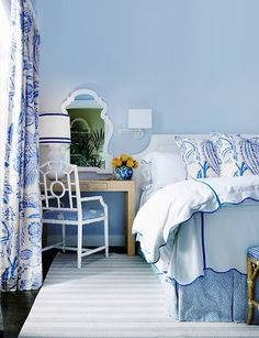 Light blue walls with blue and white linens!