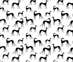 Sighthounds black white fabric by lobitos on Spoonflower - custom fabric