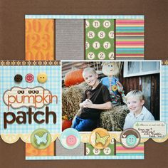 At the Pumpkin Patch - Scrapbook.com - love the strips of patterned paper