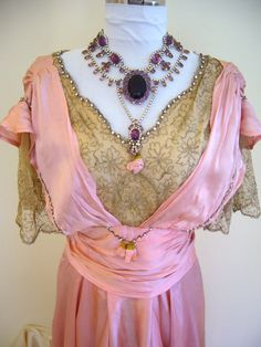 """"""" Incredible Museum COUTURE FRENCH Titanic 1915 Silk Lace Rhinestone Evening Gown - Stunning Dress Lace Pale Pink Silk''"""