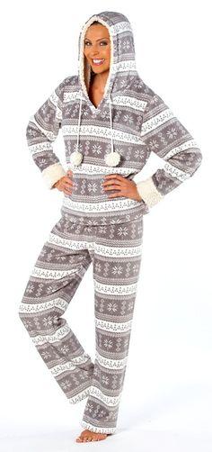 Katie Nordic Pyjamas Really sofy pyjamas. Sherpa lined hood and cuffs with pom poms. Also in Grey. Fleece Pajamas, Pyjamas, Pj Day, Soft Corals, Sherpa Lined, Nightwear, Lounge Wear, Size 10, Lingerie