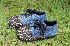 Oxford Childrens Shoes in Earthy Hmong Embroidery and Indigo Batik Vegan