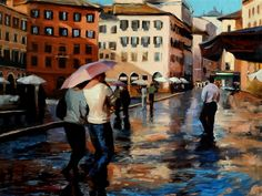 Buy Original Art by Jonelle Summerfield | oil painting | Unpredictable Weather in Piazza Navona at