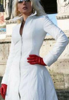 Genuine Leather Dress,New Handmade Women Short White Dress Plus Size Custom Made Long Leather Coat, Lambskin Leather, Leather Jacket, Vinyl Dress, Red Gloves, Leather Dresses, Latest Fashion For Women, Fashion Dresses, Women's Fashion