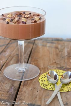 Two Ingredient Nutella Mousse - this is delicious! and so easy to make. I don't bother with the nuts and chocolate on top. BJ