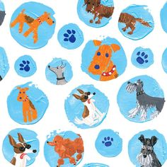 Entertaining with Caspari Gift Wrapping Paper, Dogs, 2-Full Sheets