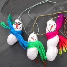 A how-to create peanut snowmen ornaments for the holidays. A great craft for kids!