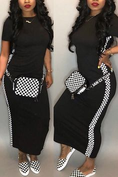 Material:Blending Style:Fashion Neckline:O neck Sleeve Style:Cap Sleeve Sleeve Length:Short Sleeve Silhouette:Sheath Dresses Length:Ankle Length Casual Fall Outfits, Trendy Outfits, Casual Dresses, Fashion Outfits, Fashion Skirts, Fashion Advice, Daily Fashion, Fashion Online, Black Women Fashion