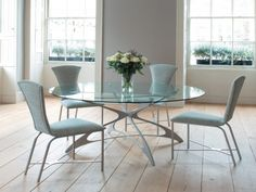 Glass Kitchen Tables For Small Spaces Within Attractive Modern Round Glass Dining Table Ikea Pictures Round Glass Kitchen Table, Round Dining Room Sets, Glass Round Dining Table, Modern Dining Table, Dining Table Chairs, Glass Table, Dining Set, Dining Rooms, Bjursta Table
