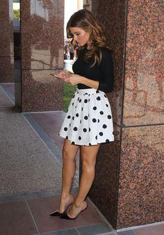 cute polka dot skirt!