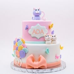 Lovely birthday cake with a cat topper Birthday Cake For Cat, Themed Birthday Cakes, Birthday Cake Toppers, Themed Cakes, Fondant Cat, Kitten Cake, Cat Cake Topper, Cake Decorating Piping, Cake Shapes