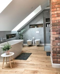 best attic bathroom design ideas you have to see page 37 Modern Bathroom Design, Bathroom Interior Design, Interior Decorating, Bathroom Designs, Interior Livingroom, Apartment Interior, Kitchen Interior, Decorating Ideas, Attic Bathroom