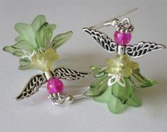 Garden Fairy Dangle Earrings, Elegant Angel, Beaded Green, Sprite, Lucite Flower Earrings, Fantas,y Summer Weddings, Spring Trends