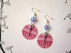 306 - Boucles d'oreilles ronde - Aztèque - Rose - Perles - crochet couleur argenté - Papier imprimé : Boucles d'oreille par tout-en-boucles