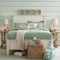 Get inspired by Coastal Bedroom Design photo by Wayfair. Wayfair lets you find the designer products in the photo and get ideas from thousands of other Coastal Bedroom Design photos. Coastal Bedrooms, Coastal Living Rooms, Beach Cottage Bedrooms, Country Bedrooms, Sea Green Bedrooms, Coastal Master Bedroom, Beach Cottage Style, Beach House Decor, Coastal Cottage