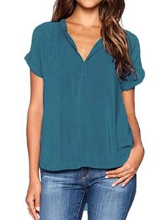 Special Offer: $13.99 amazon.com For the girl who's so on top of trends it's astounding, we see the V-sionary blouse top in your future! In a very popular color, this lightweight top pairs a silky woven material with exquisitely cuffed short sleeves, a deep V-neckline, and a...