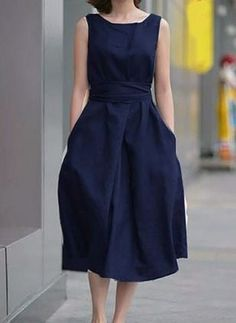 Round Neck Bowknot Patch Pocket Plain Skater Dress the latest fashion & trends in women's collection. Cheap Dresses, Casual Dresses For Women, Ladies Dresses, Women's Dresses, Dress Casual, Outfit Trends, Luxury Dress, Dress Silhouette, Linen Dresses