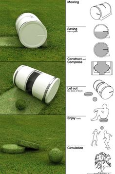 """Muwi"", Automatically Cuts Grass and compresses the clippings into shapes to play with!!! Need this!"