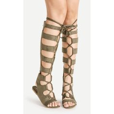 2665b9faf08 SheIn(sheinside) Knee High Lace Up Gladiator Sandals ( 38) ❤ liked on