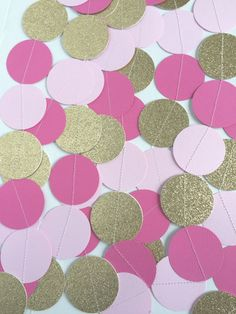 Ready to Ship Paper Garland  Gold Light Pink and by TopperAndTwine