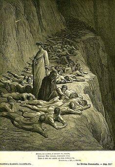 Dante e Virgílio em meio aos avarentos no Quinto Ciclo, Gustavo Doré.