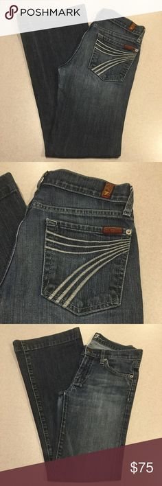 7 For All Mankind Jeans 27X31 Dojo New York Dark! ❗️PRICE ABSOLUTELY FIRM❗️ 7 for all mankind jeans Size 27 31 inch professionally hemmed inseam The dojo in New York dark Famous white stitched 7 back pockets Vibrant blue stretch denim with medium fading Perfect preowned condition, no flaws Retailed for $198.00 My dojos sell fast so don't wait on these!  All of my items come from a smoke free, pet free home and are authenticity guaranteed! Please ask any questions. 28 7 For All Mankind Jeans…