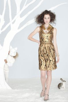 "Anthropologie Goldleaf Cocktail Dress - $258.00      By Project Alabama      Side zip      Nylon; viscose lining      Dry clean      Regular: 39""L      Petite: 36.25""L      Imported         Style #: 26001214"