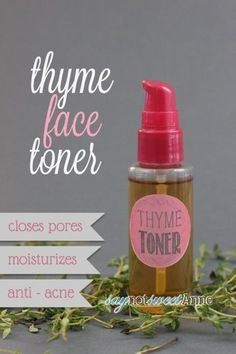Two Ingredient Thyme Face Toner - Anti-acne with no dyes or perfumes!   saynotsweetanne.com   #diy #beauty #acne