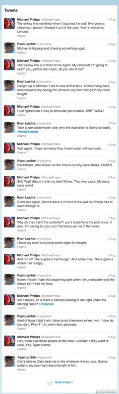 What It Would Look Like If Michael Phelps And Ryan Lochte Live-Tweeted Their Epic Race Yesterday Funny | Jockular