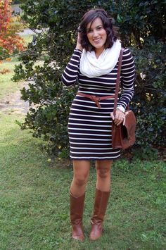 black & white striped old navy dress, brown belt and shoes, white scarf