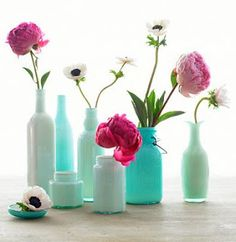 Paint the inside of vases to match colors! Don't like all of the flowers here, but painting inside of vases to match colors is great idea!