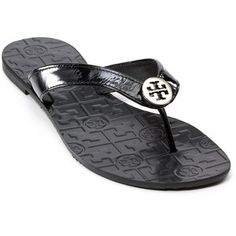 bb3993965a1d TORY BURCH Thora Patent Sandals authentic TORY BURCH Thora sandals features  black patent leather straps with silver Tory Burch logo and imprinted T  logos on ...