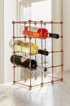 Urban Outfitters Rose Gold Wine Rack