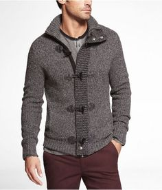 Express Mens Waffle Knit Mock Neck Toggle Clasp Cardigan Heather Gray, X Large in October 2012 from EXPRESS