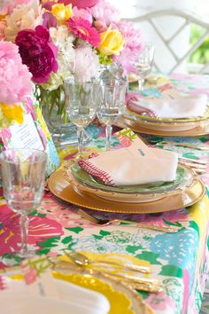 "Set the Table - Host a Lilly Pulitzer-Inspired Luncheon! - Southernliving. ""Don't layer your table with unnecessary glasses or utensils,"" Dana advises. ""Use only what you need for your menu."" But do take the time to try a napkin fold. ""I have a book on napkin folds, and it's fun to re-create those!"""