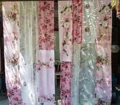 Pink A Licious Shabby Chic Curtains handmade by by HippieWild