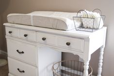 Desk to changing table DIY: Great way to repurpose old (and hopefully cheap) furniture!