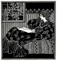 A lady reading -- After a pen-and-ink drawing by A. K. Womrath, from The Savoy vol 3, London, 1896.
